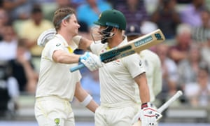 Steve Smith (left) and Matthew Wade put on 202 for the fifth wicket