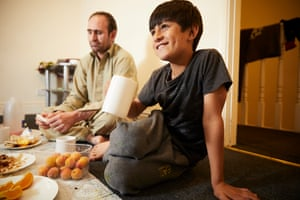 Norzai and Wali Khan break their Ramadan fast at the end of the day at their home in Derby