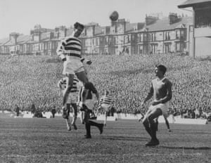 Celtic and Billy McNeill (here heading the ball over Rangers' Ron McKinnon) made it to the Scottish Cup final again the following season but were unable to retain the trophy losing out to Rangers by a single goal in a replay