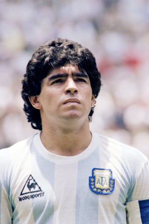 Maradona in Mexico City before the start of the World Cup final between Argentina and West Germany in June 1986