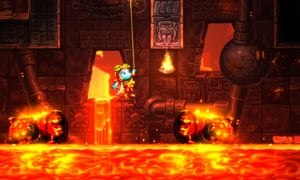 the main character swings from a rope above subterranean lava in steamworld dig 2
