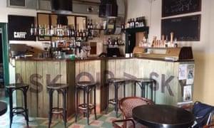 Empty inteior of the trendy Café Sladkovský, Prague