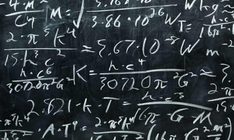 Blackboard covered with equations