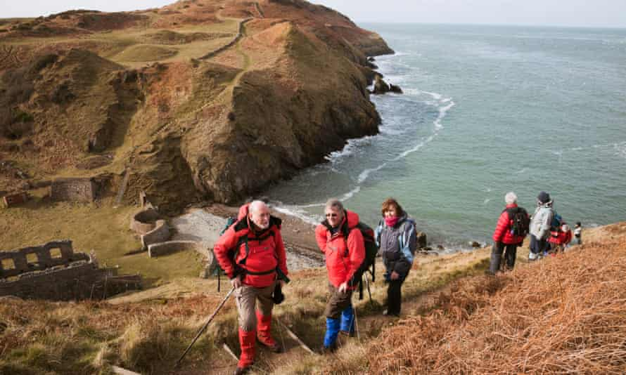 Hikers in Anglesey, north Wales.