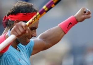 Rafael Nadal celebrates after winning his semi-final match against Diego Schwartzman.