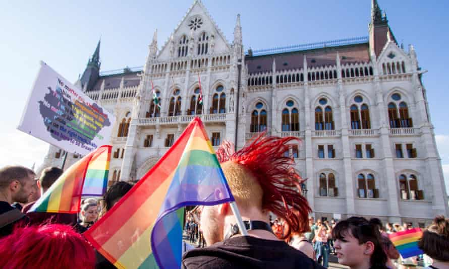 A gay rights demonstration in Budapest against the new law banning depictions of homosexuality in schools