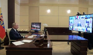 Russian President Putin chairs a video-meeting with governors and officials on Wednesday.