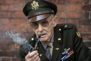 A second world war re-enactor playing a heavily decorated soldier.
