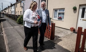 Lisa Forbes canvassing with the Labour leader, Jeremy Corbyn, in Peterborough.