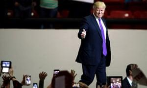 Donald Trump attends a campaign rally in Las Vegas.