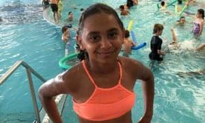 Denishar Woods at a swimming pool