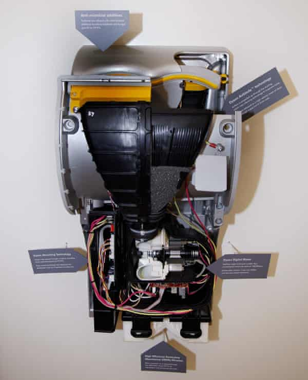 A cutaway model of the Dyson Airblade from the time of its UK launch in 2006.