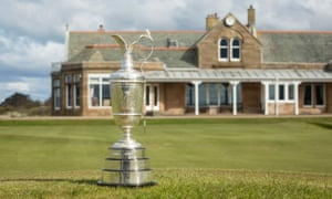 The Claret Jug sits outside the clubhouse at Royal Troon.