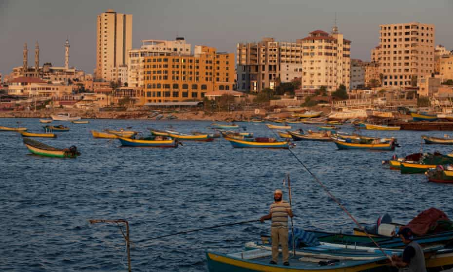 Fishermen around the Gaza CIty Wharf area. For most residents, the only option is to continue swim and fish in the filthy water.