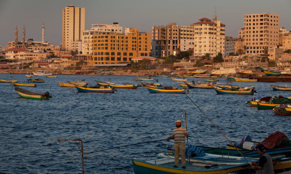 Fishermen off the coast of Gaza City, which is home to a 5,000-year-old port. Photograph: David Levene for the Guardian