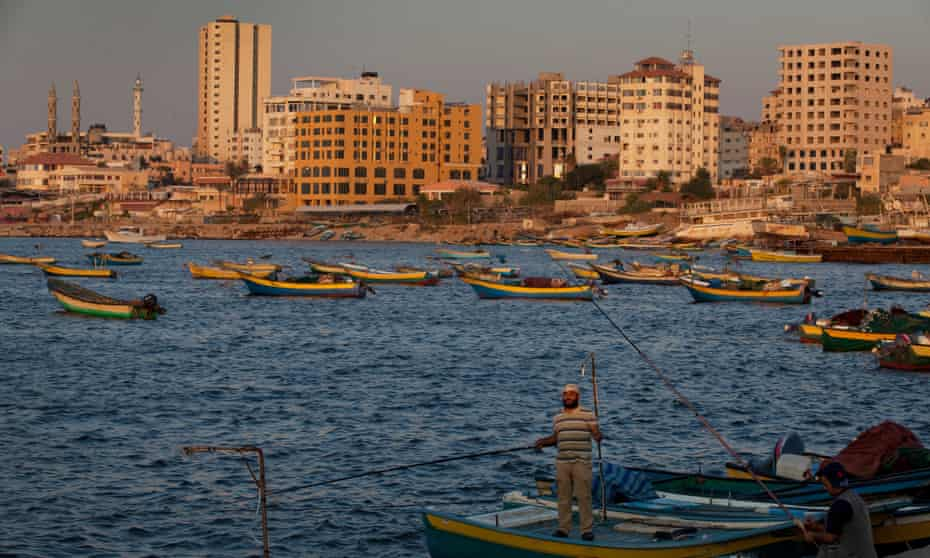 Fishermen off the coast of Gaza City, which is home to a 5,000-year-old port.