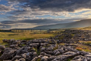Francis Joseph Taylor: Sunshine breaks through, Ribblehead Viaduct, North Yorkshire, which has won the Network Rail 'Lines in the Landscape' Award Winner 2016
