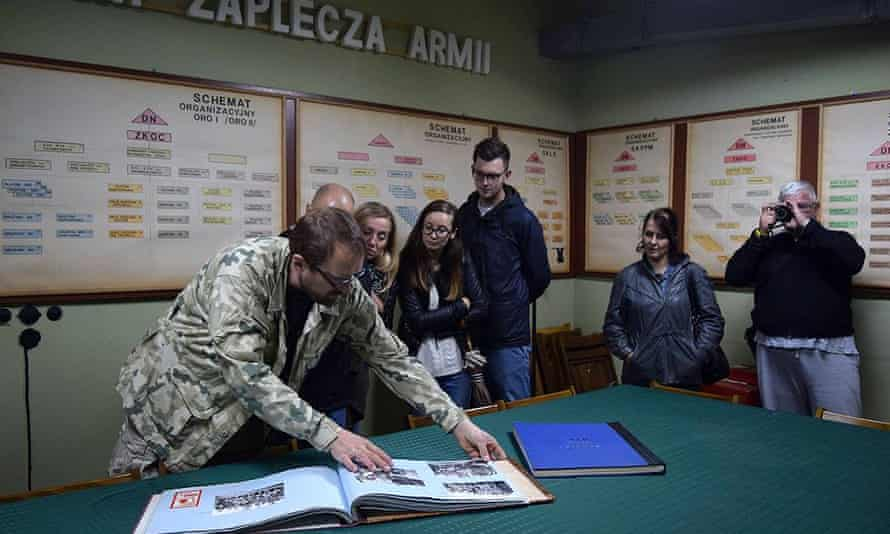 Visitors on a tour of the underground command post.