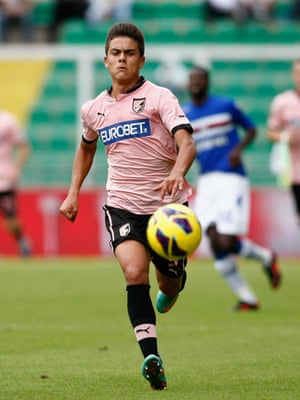An 18-year-old Paulo Dybala during his Palermo days, in action against Sampdoria in November 2012.