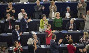 Dutch MEP Judith Sargentini is applauded in the European parliament after the vote was passed.