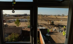 The view of construction work of the Southall Waterside development as seen from the window of a local resident, taken in 2019.
