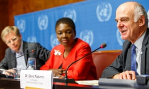 David Nabarro, right, with UN representative Lady Amos, speaks to reporters about the battle to contain the Ebola outbreak in west Africa in 2014.