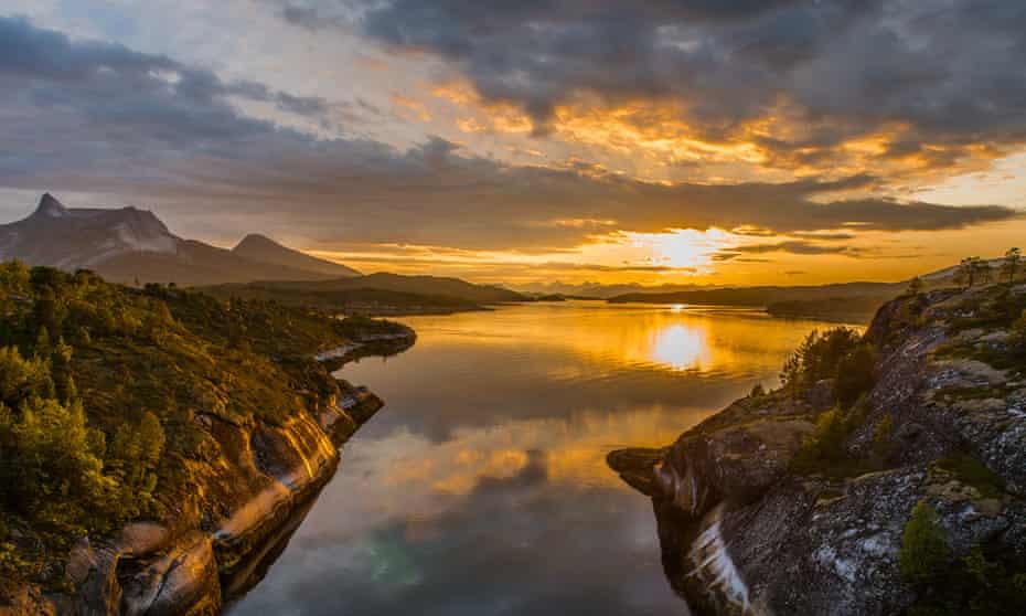 Sunset over Skjomenfjord, Norway