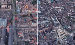 The geometric and traditional centres of Nottingham. Radford Boulevard (left) and the Old Market Square (right)