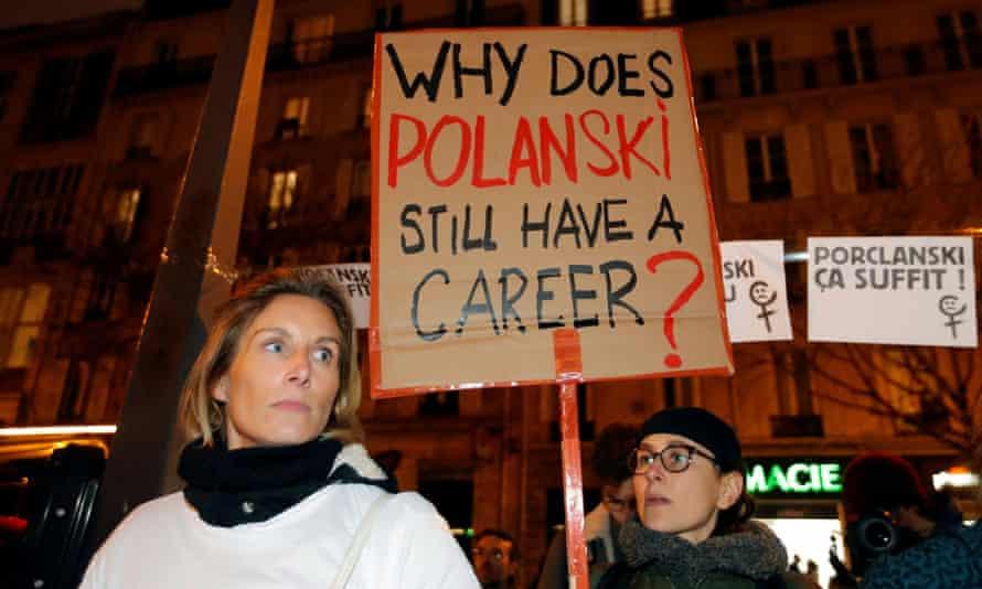 An anti-Roman Polanski protest in Paris.