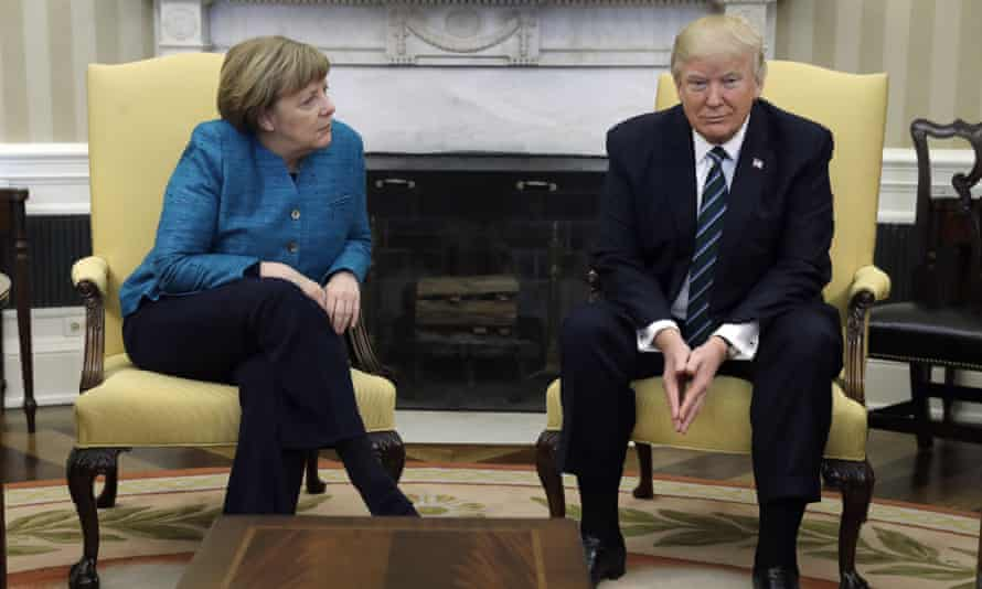 Trump meets with Angela Merkel in the Oval Office of the White House in Washington on 17 March 2017.