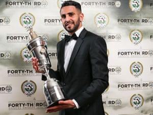 Riyad Mahrez poses with his PFA Player of the Year award.