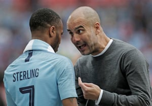 Manchester City manager Pep Guardiola berates Raheem Sterling despite him having scored twice during the 6-0 rout of Watford in the FA Cup Final at Wembley.
