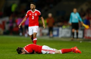 Gareth Bale goes down after being fouled by Ivanovic.