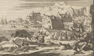 A depiction of the earthquake that destroyed much of Port Royal in 1692, by Jan Luyken and Pieter van der Aa.