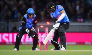 Sussex Sharks' David Wiese's wicket is skittled by Moeen Ali of the Worcestershire Rapids.