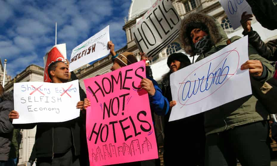 protesters at an anti-airbnb rally