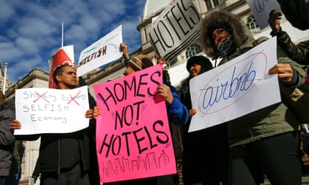 Opponents of Airbnb rally in New York, which last month passed a law to fine residents who rent out apartments for illegal short-term stays.