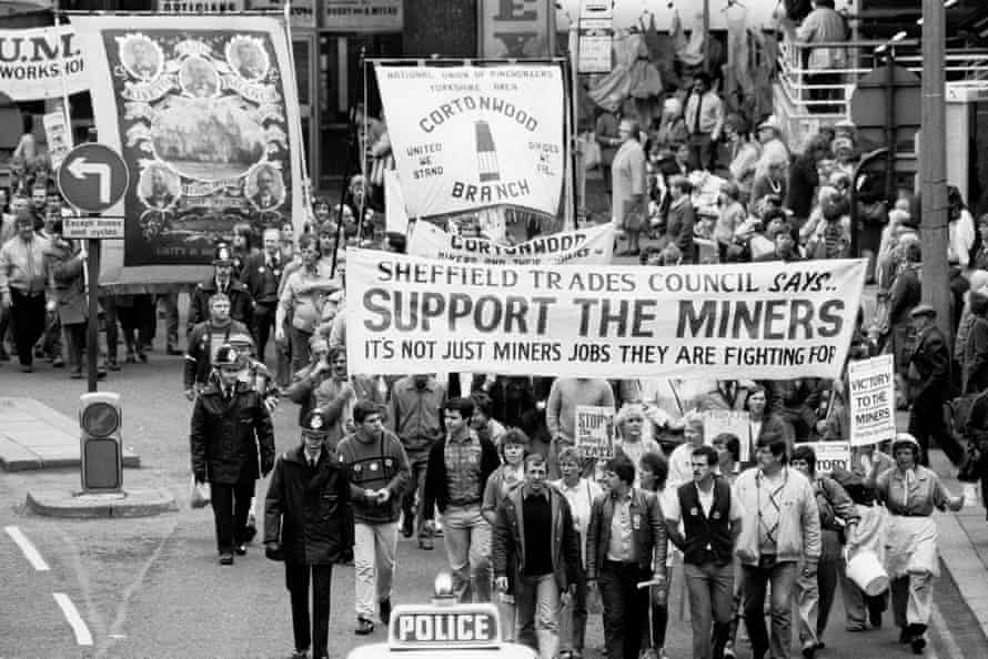 Sheffield Trades Council march in support of striking miners during the 1984 miners' strike