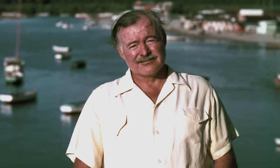 Ernest Hemingway above a Cuban fishing village in 1952.