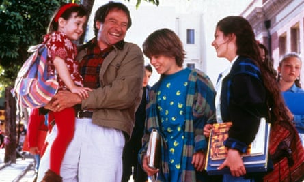 Mara Wilson with Robin Williams in Mrs Doubtfire in 1993