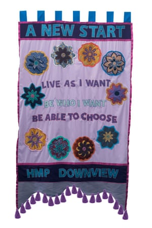 Banner made by artist Lucy Orta and women of HMP Downview.