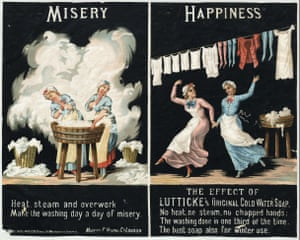 A stylised look at the harsh realities of laundry and the transformative effects of Lutticke's cold-water soap from 1884.