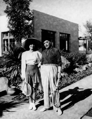 HG Wells about to play tennis with Paulette Goddard, wife of Charlie Chaplin, at the El Mirador Hotel in Palm Springs circa 1931.