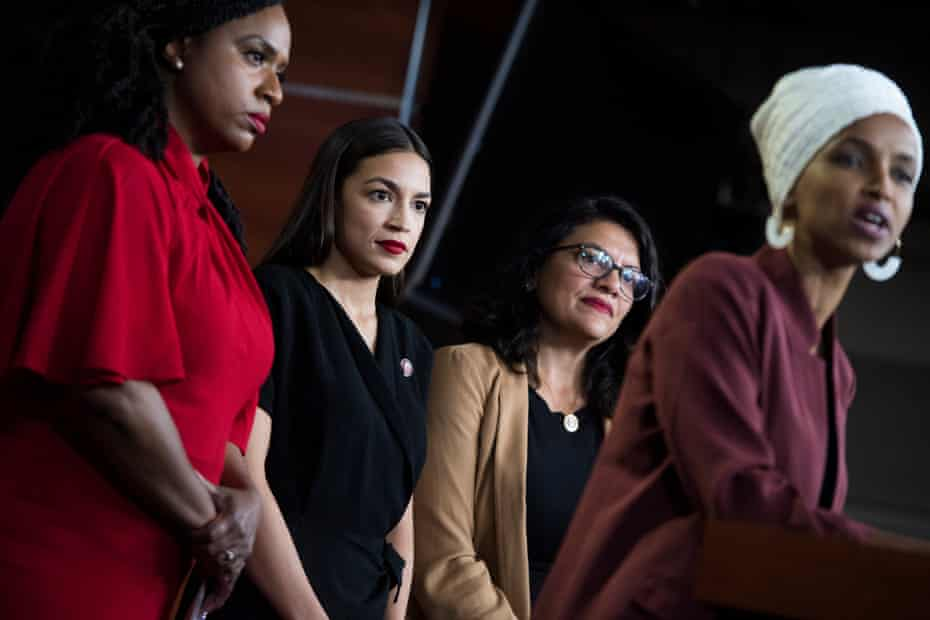 From left, Reps. Ayanna Pressley, D-Mass., Alexandria Ocasio-Cortez, D-N.Y., Rashida Tlaib, D-Mass., and Ilhan Omar, D-Minn., conduct a news conference in the Capitol Visitor Center responding to negative comments by President Trump that were directed the freshman House Democrats on Monday, July 15, 2019.