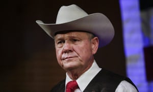 US Senate candidate Roy Moore speaks at a rally in Fairhope, Alabama.