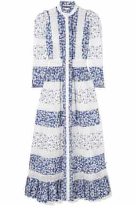 ALEXANDER MCQUEEN Crocheted lace-trimmed floral-print cotton-poplin maxi dress£3,745