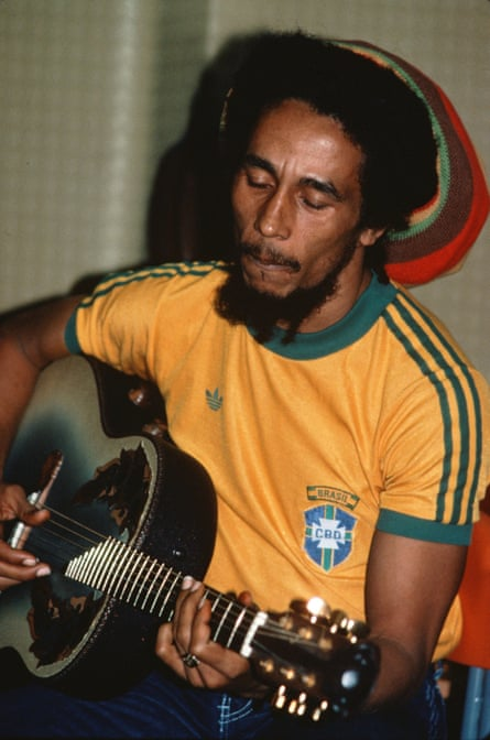 Bob Marley backstage before a show at the Stadio San Siro, in Milan in June 1980.