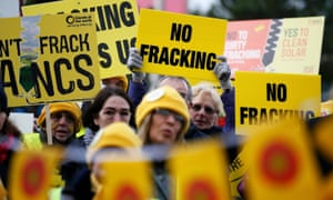 Anti-fracking demonstrators in Lancashire.