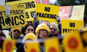 Anti-fracking demonstrators outside Blackpool football club in February 2016.