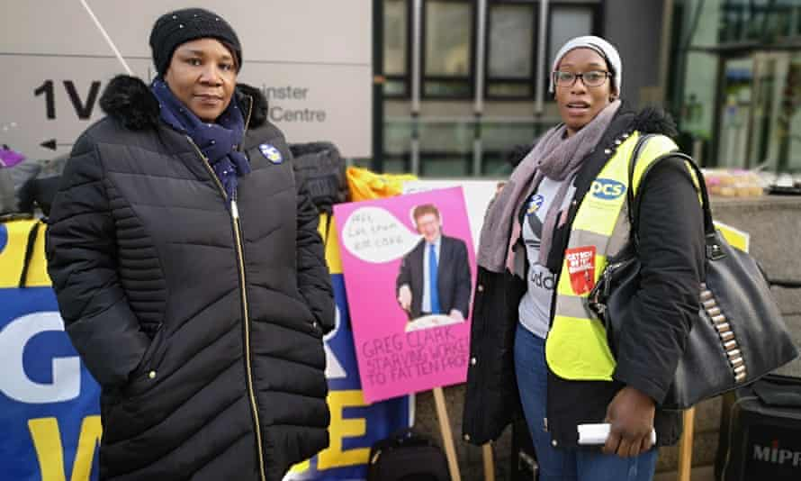 Catering workers Novlette Hurd and Merline Chambers striking for fair pay